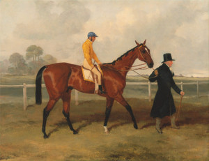 Art Prints of Sir Tatton Sykes Leading the Horse with William Scott Up by Harry Hall