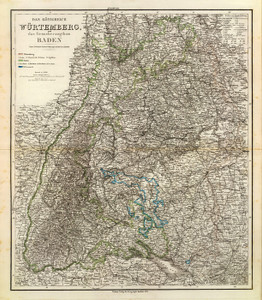 Art Prints of Wurtemberg Baden, 1856 (2077021) by Heinrich Kiepert and C.F. Weiland