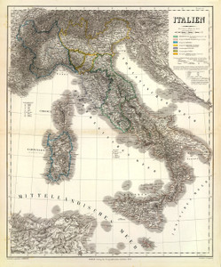 Art Prints of Italy, 1853 (2077027) by Heinrich Kiepert and Geographisches Institut