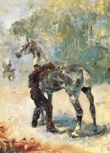 Art Prints of Artilleryman Saddling His Horse by Henri de Toulouse-Lautrec