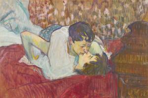 Art Prints of In Bed, the Kiss by Henri de Toulouse-Lautrec