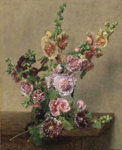 Art Prints of Hollyhocks by Henri Fantin-Latour