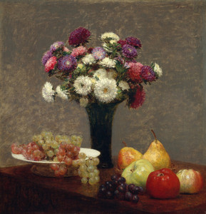 Art Prints of Asters and Fruit on a Table by Henri Fantin-Latour
