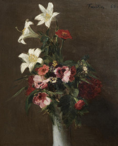 Art Prints of Flowers in a Porcelain Vase by Henri Fantin-Latour