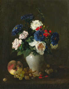 Art Prints of Peach, Grapes, and Vase of Flowers by Henri Fantin-Latour