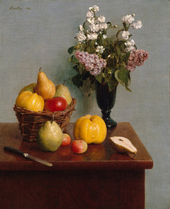 Art Prints of Still Life with Flowers and Fruit by Henri Fantin-Latour