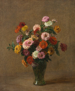 Art Prints of Zinnias by Henri Fantin-Latour