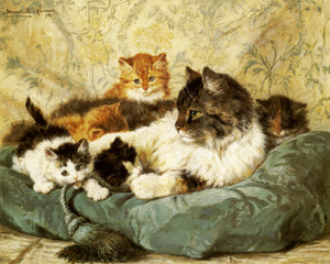 Art Prints of A Cat with Her Kittens by Henriette Ronner Knip