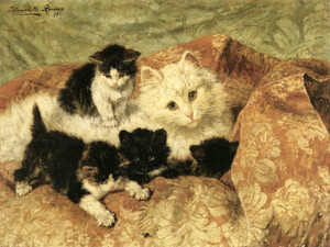 Art Prints of A Happy Family by Henriette Ronner Knip