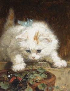 Art Prints of A Kitten Chasing a Butterfly by Henriette Ronner Knip