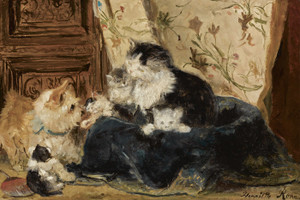 Art Prints of Meeting a Stranger by Henriette Ronner Knip