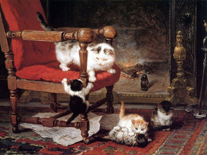 Art Prints of Playing by the Warmth of the Fire by Henriette Ronner Knip