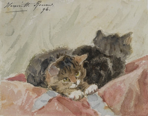 Art Prints of The Awakening by Henriette Ronner Knip