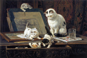 Art Prints of The School of Painters by Henriette Ronner Knip