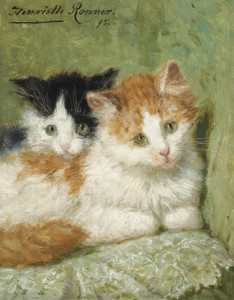 Art Prints of Two Kittens Sitting on a Cushion by Henriette Ronner Knip