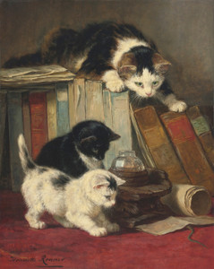 Art Prints of Watching the Prey by Henriette Ronner Knip