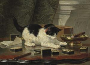 Art Prints of Kitten's Game by Henriette Ronner Knip