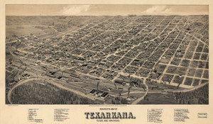 Art Prints of Texarkana, Texas and Arkansas, 1888 by Henry Wellge