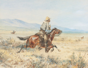 Art Prints of Chasing a Pronghorn by Herman Wendelborg Hansen