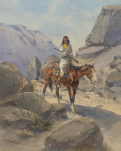 Art Prints of The Look Out, Apache by Herman Wendelborg Hansen
