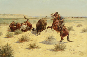 Art Prints of Buffalo Attack by Herman Wendelborg Hansen