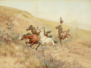 Art Prints of Herding Horses by Herman Wendelborg Hansen