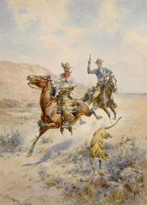 Art Prints of Pursuing a Mountain Lion by Herman Wendelborg Hansen