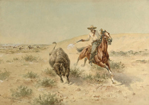 Art Prints of Buffalo Hunt by Herman Wendelborg Hansen
