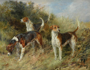 Art Prints of Dandy, Nigel and Sapphire, North Shropshire Foxhounds by Heywood Hardy