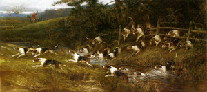Art Prints of Hounds of the Tickham Hunt, Kent by Heywood Hardy