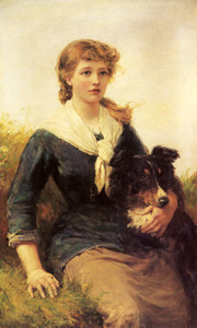 Art Prints of The Good Companion, Girl and her Collie by Heywood Hardy