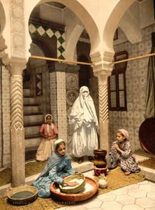Art Prints of Moorish Women Preparing Couscous, Algiers, Algeria (387103)