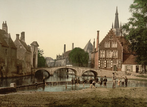 Art Prints of Convent Bridge and the Spire of Notre Dame, Bruges, Belgium (387157)