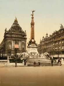 Art Prints of Brouckere Place and Anspach Monument, Brussels, Belgium (387175)