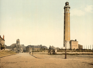 Art Prints of Lighthouse and St. Peter's Church, Calais, France (387023)