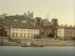 Art Prints of Cathedral and Notre Dame de Fourviere, Lyons, France (387329)