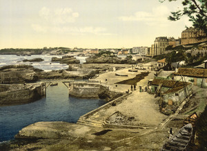 Art Prints of Fishing Harbor, Biarritz, Pyrenees, France (387525)