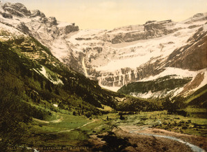 Art Prints of La Cirque and Waterfall, Gavarnie, Pyrenees, France (387542)