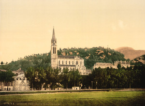 Art Prints of Basilique from la Prairie, Lourdes, Pyrenees, France (387554)