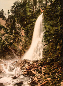 Art Prints of Valley of Lys and Cascade de Cocur, Luchon, Pyrenees, France (387561)