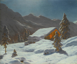 Art Prints of Moonlit Winter Landscape by Ivan Fedorovich Choultse