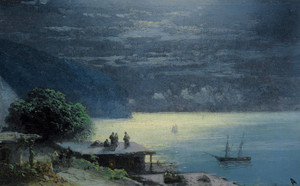 Art Prints of Crimean Coast by Moonlight by Ivan Konstantinovich Aivazovsky