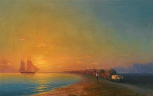 Art Prints of Ox Cart on the Shore by Ivan Konstantinovich Aivazovsky