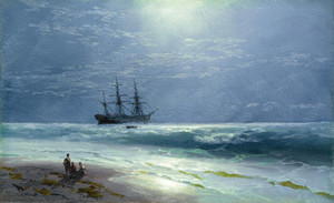 Art Prints of Moonlit Landing by Ivan Konstantinovich Aivazovsky