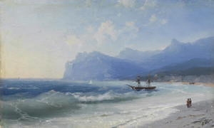 Art Prints of Beach at Koktebel on a Windy Day by Ivan Konstantinovich Aivazovsky