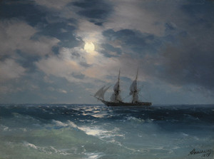 Art Prints of The Brig Mercury in Moonlight by Ivan Konstantinovich Aivazovsky