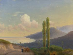 Art Prints of The Road to Gurzuf, Crimea 1878 by Ivan Konstantinovich Aivazovsky