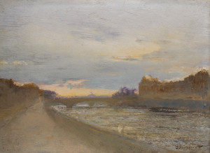Art Prints of Evening View of the Seine by the Louvre by Ivan Pavlovich Pokhitonov
