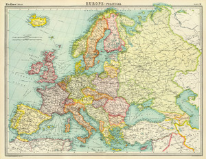Art Prints of Europe Political, 1922 (2113010) by J.G. and John Bartholomew and Son