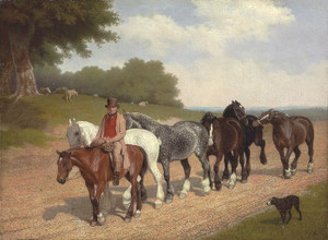 Art Prints of Groom with Carthorses and a Dog on a Road by Jacques-Laurent Agasse